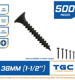 500 pcs black screw 1 1 2 inch 38 mm for wood gypsum [ 2000 x 2000 Pixel ]