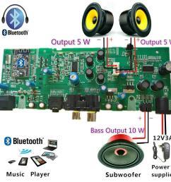 professional 2 1 channel digital bluetooth amplifier board subwoofer amplifier upgrade diy speaker dc12 1 5a [ 1000 x 1000 Pixel ]