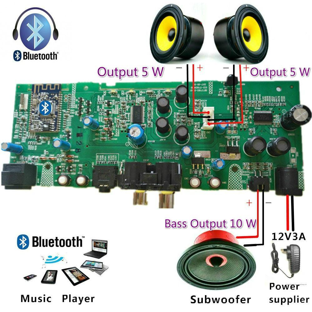 hight resolution of professional 2 1 channel digital bluetooth amplifier board subwoofer amplifier upgrade diy speaker dc12 1 5a