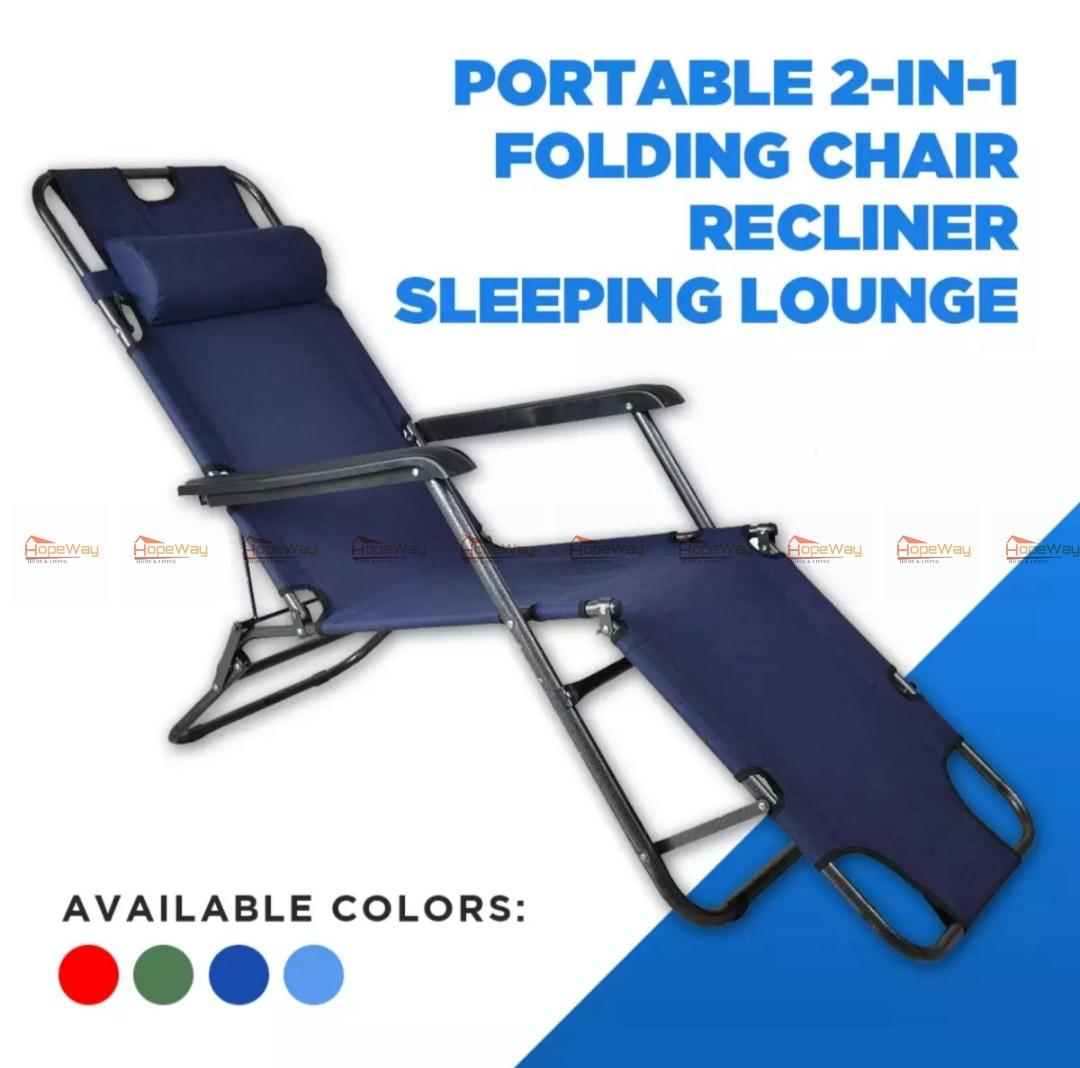 Heavy Duty Outdoor Chairs Portable 2in1 Folding Chair Recliner Sleeping Loung