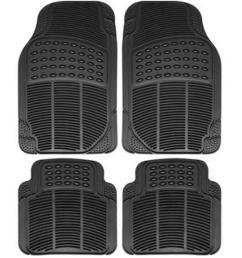 universal car mat rubber car matting 4pcs set black  [ 1250 x 1250 Pixel ]