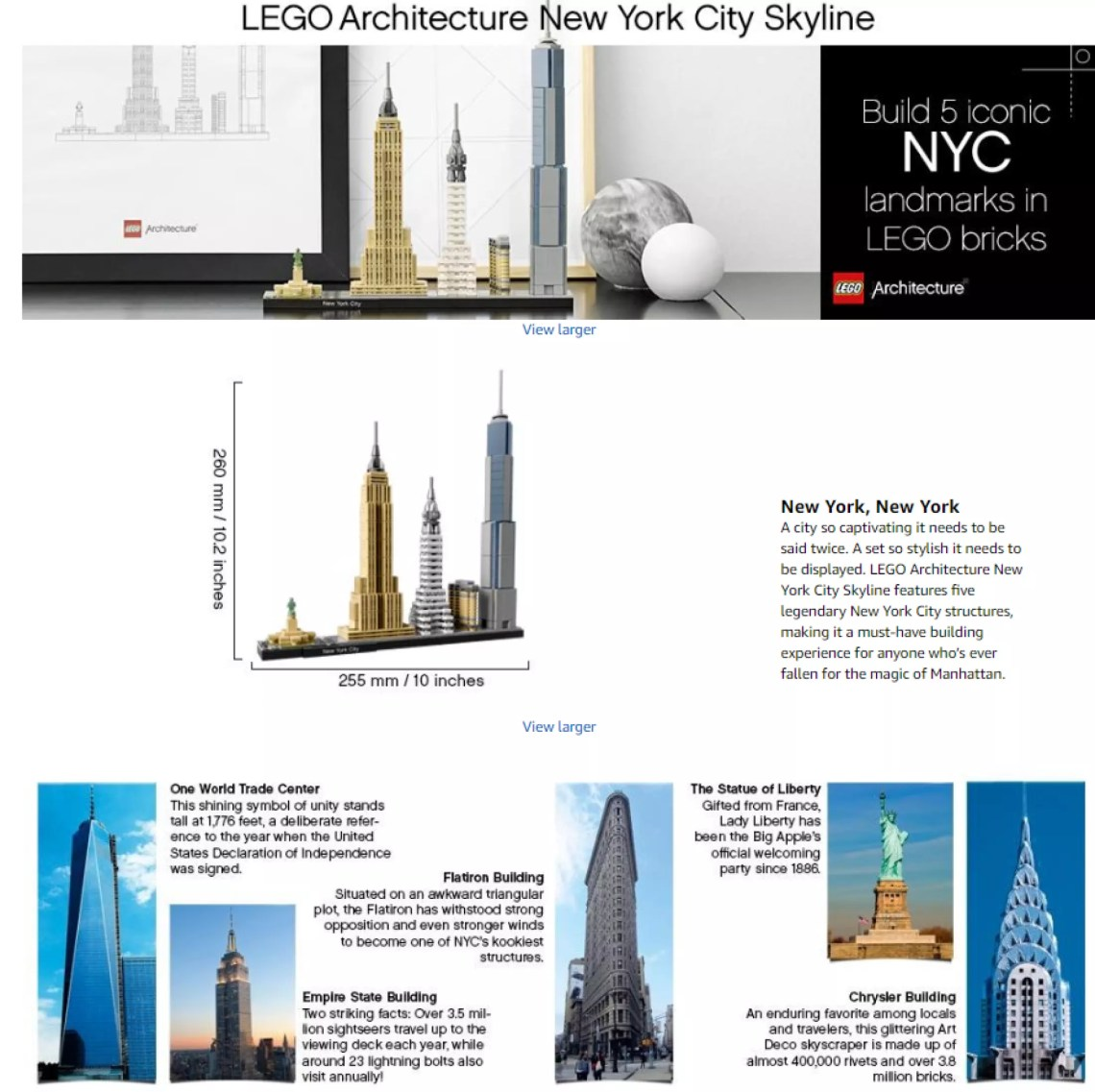 Lego Architecture New York City 21028 Build It Yourself New York Skyline Model Kit For Adults And Kids 598 Pieces Lazada Ph