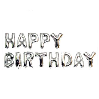 Happy Birthday Letter Foil Balloons 13-piece Set (Silver