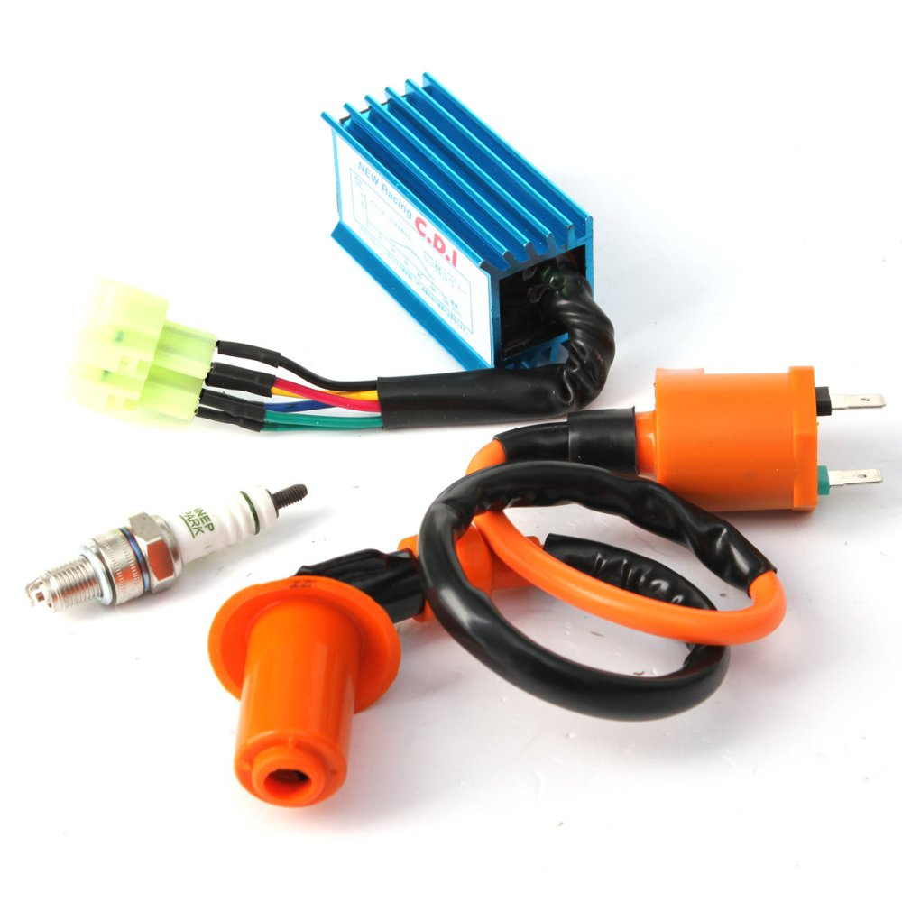 hight resolution of  racing ignition coil spark plug cdi box for gy6 50cc 150cc 4