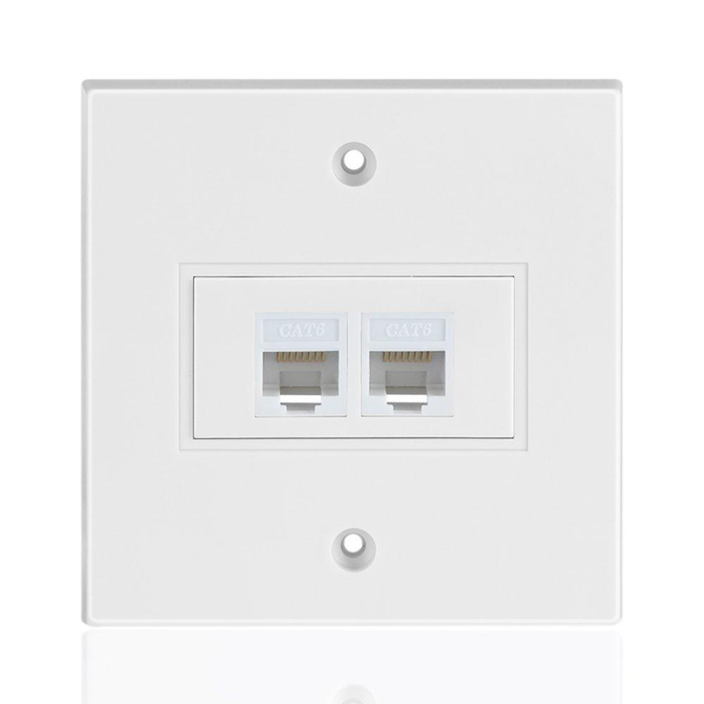 medium resolution of 1x ethernet network cat6 faceplate wall plate dual 2 port rj45 connector socket wiring plug jack decorative face cover outlet mount panel female to