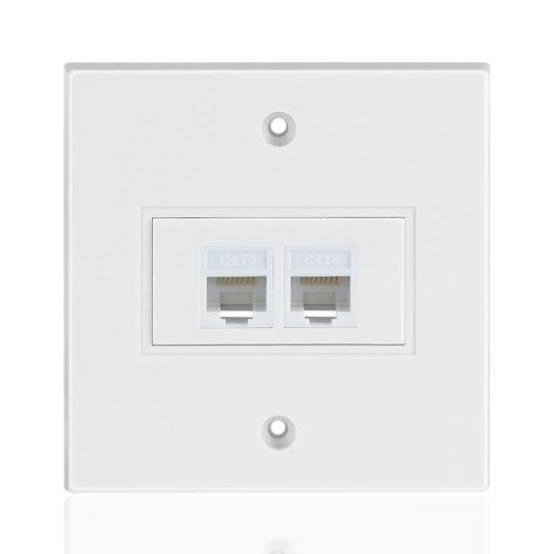 small resolution of 1x ethernet network cat6 faceplate wall plate dual 2 port rj45 connector socket wiring plug jack decorative face cover outlet mount panel female to