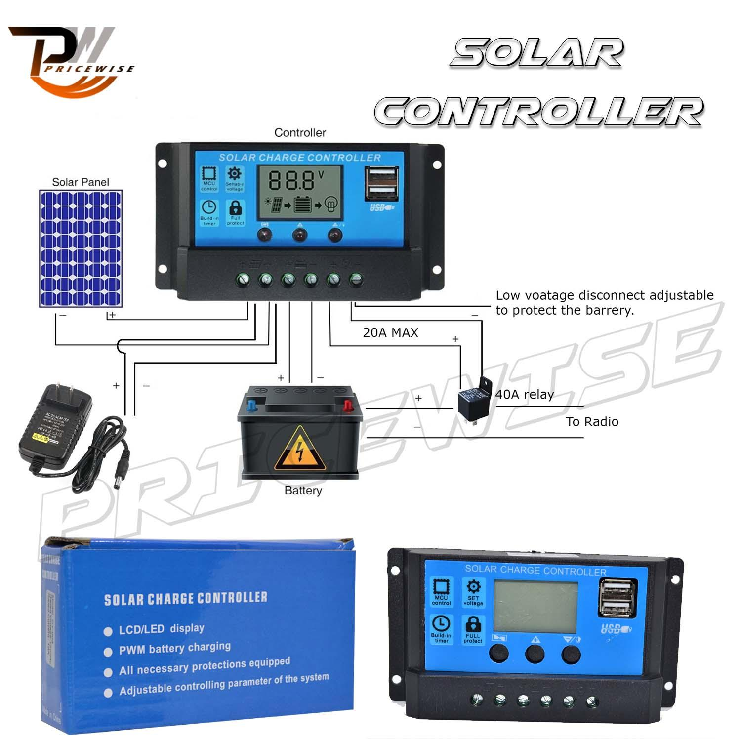 hight resolution of allpowers 10a solar charger controller solar panel battery intelligent regulator with usb port display 12v