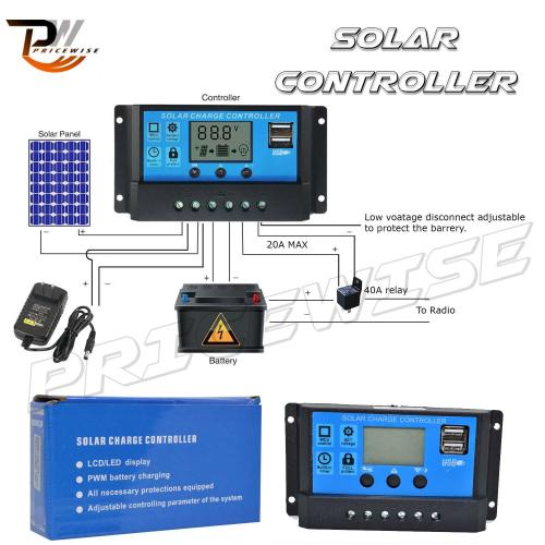 small resolution of allpowers 10a solar charger controller solar panel battery intelligent regulator with usb port display 12v
