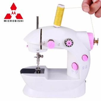 Microbishi MSM-202A There is Light 2-Speed Mini Electric Sewing Machine Kit (White/Pink)