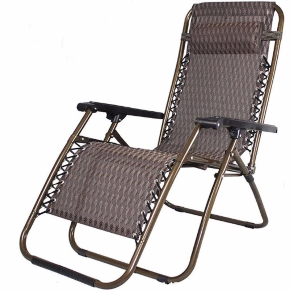 Portable Beach Chair Portable 2 In 1 Beach Chair Sling Recliner Sleeping Lounge Brown