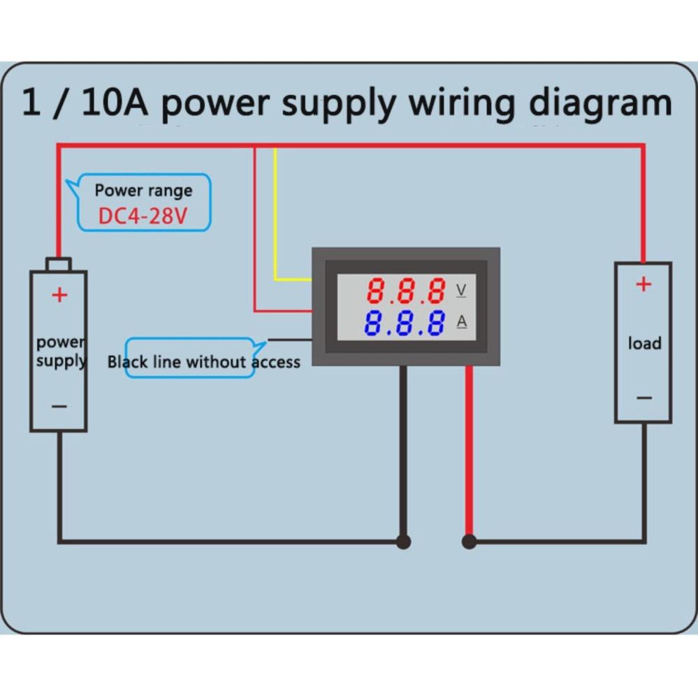 hight resolution of philippines yika dc 100v 10a voltmeter ammeter blue red led dual alternator wiring amp meter volt