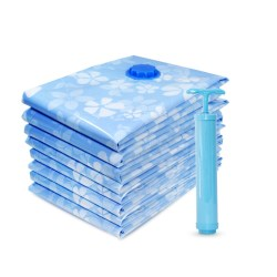 9PCS Thickened Vacuum Storage Bag for Cloth Compressed Bag with Hand Pump Reusable Blanket Clothes Quilt Organizer