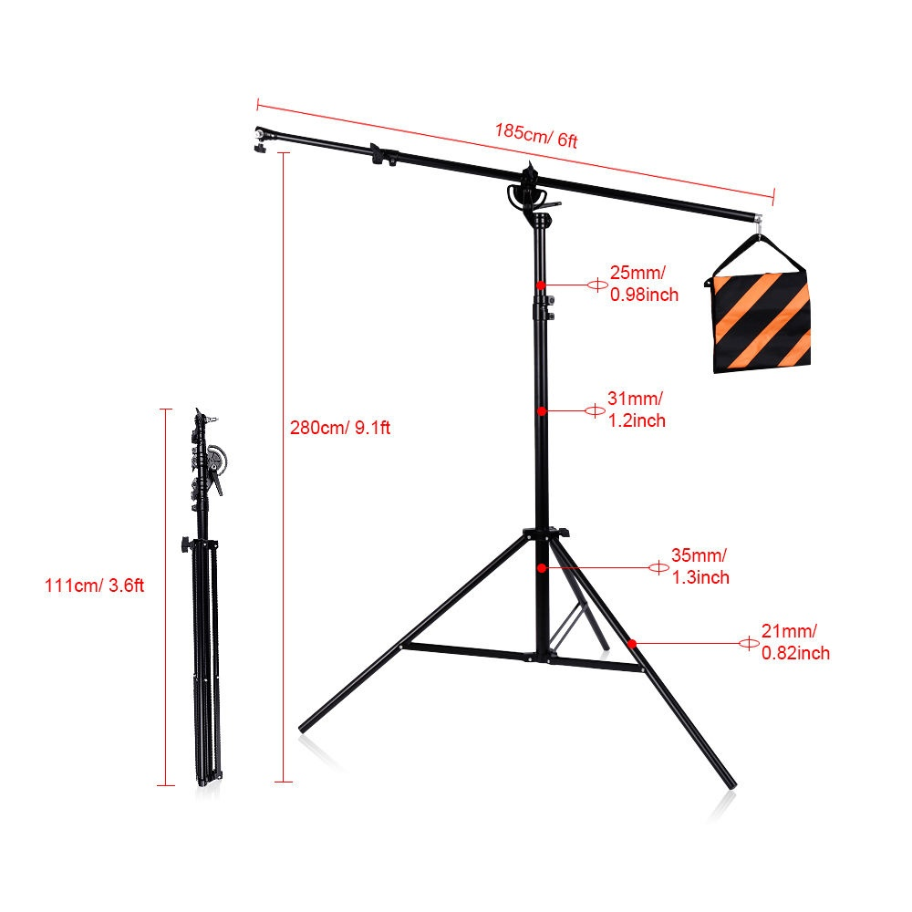 medium resolution of pxel ls bm heavy duty light stand boom arm with and sandbag for weight for photo studio lighting or microphone