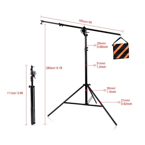 small resolution of pxel ls bm heavy duty light stand boom arm with and sandbag for weight for photo studio lighting or microphone
