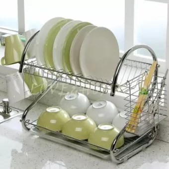 kitchen drying rack green towels love home 2 tiers dish with tray silver