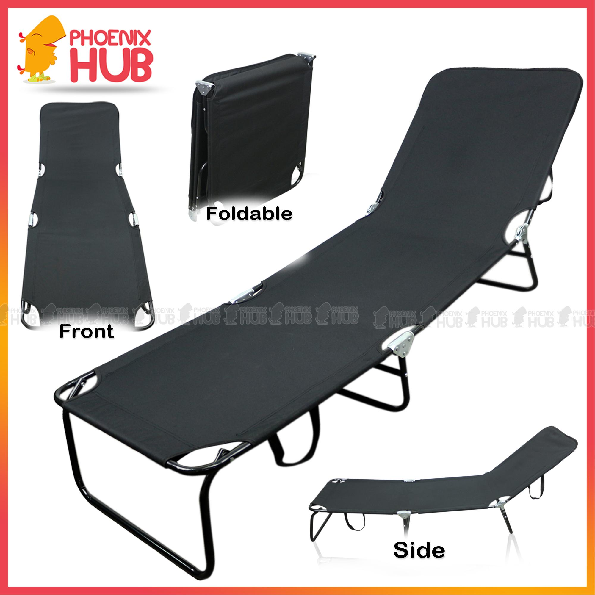 Foldable Bed Chair Phoenixhub Indoor Outdoor Lounge Chair Reclining Chair Full Sleeper Chair With Headrest Heavy Duty Multi Function Adjustable Portable Folding Bed
