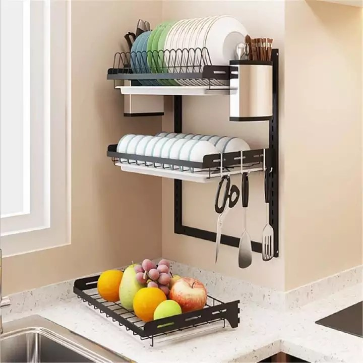 hanging dish drying rack wall mount 3 tier kitchen plate bowl spice organizer storage shelf holder with drain tray over the sink with 3