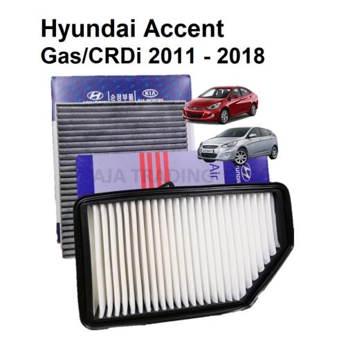 small resolution of combo air filter and carbon cabin filter for hyundai accent gas and crdi 2011