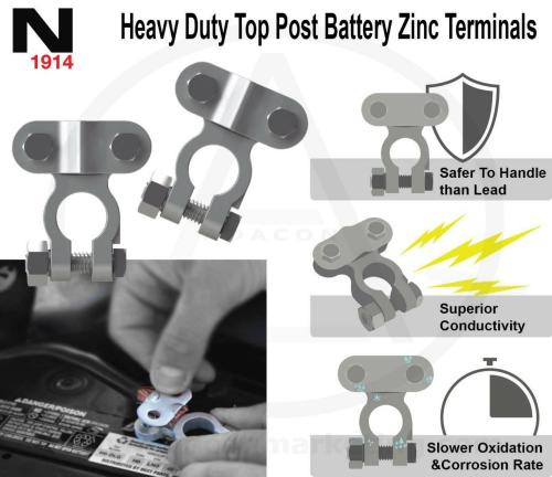 small resolution of noco top post zinc battery terminal connector 2pc set