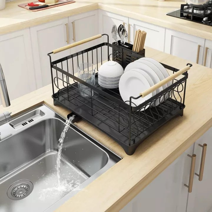 dish rack bowl holder stainless steel kitchen sink drying shelf cutlery drainer dish over organizer drain rack with chopsticks cage