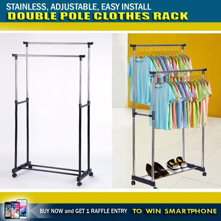 high quality double pole standing adjustable stainless steel holder drying rack telescopic clothes rack diy double pole telescopic heavy duty cloth