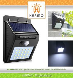 solar wall light outdoor waterproof 20 led pir motion sensor great for patios gardens [ 1920 x 1920 Pixel ]
