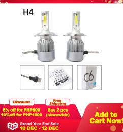 new 2pcs c6 led car headlight kit cob h4 36w 7600lm white light bulbs [ 1920 x 1920 Pixel ]
