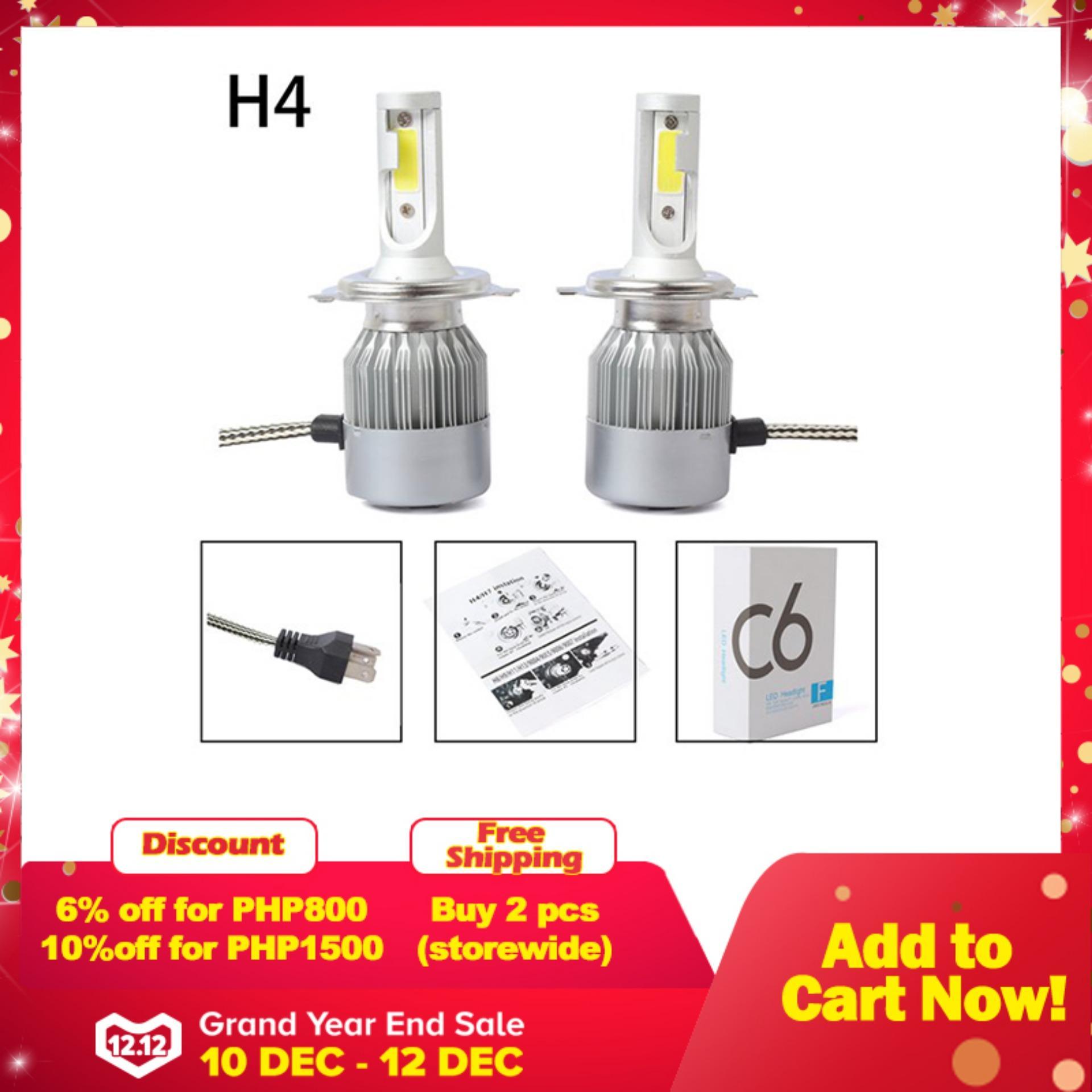 hight resolution of new 2pcs c6 led car headlight kit cob h4 36w 7600lm white light bulbs