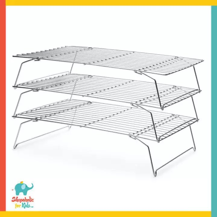 delish treats 3 tier stainless steel cooling rack cake cupcake pastry dessert piping nozzle baking bake icing frosting buttercream topper tools