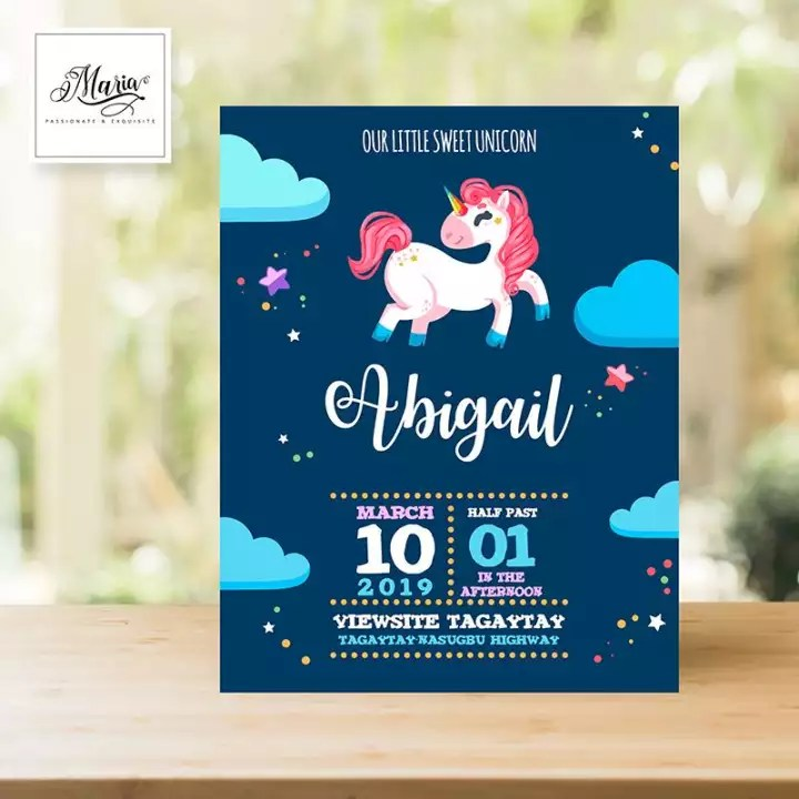 unicorn birthday invitation card set of 14 personalised invitations for christening