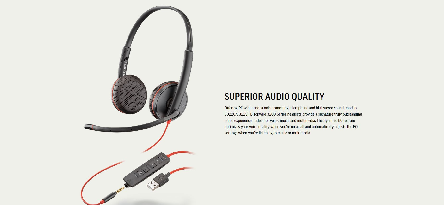 hight resolution of specifications of plantronics blackwire 3225 usb and 3 5mm jack corded headset binaural with noise canceling microphone p n 209747 22