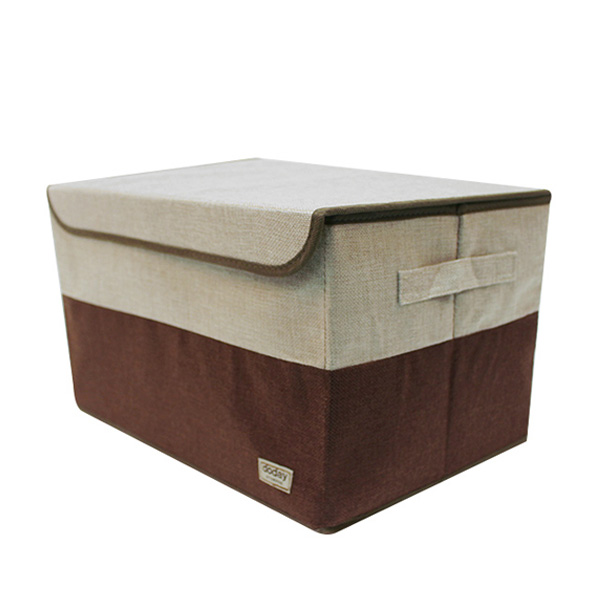 Two-Tone Foldable Storage Box 30L (Fabric, Wire, Brown, Gray)