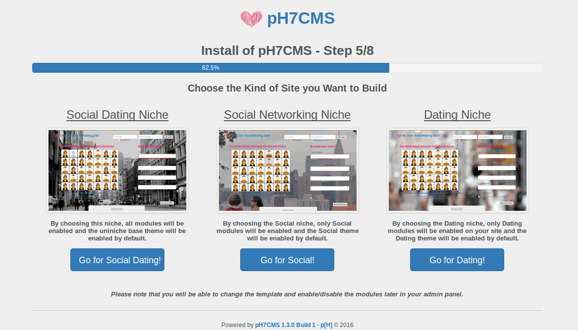 pH7CMS 1.3 – Go Faster and Smarter thanks the ready-niches available