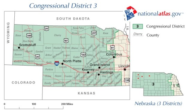 Where I live, in Nebraska's 3rd Congressional District, people sent to Congress tend always to be Republicans who get around 70% or more of the popular vote. The district isn't red, it's screeching scarlet!