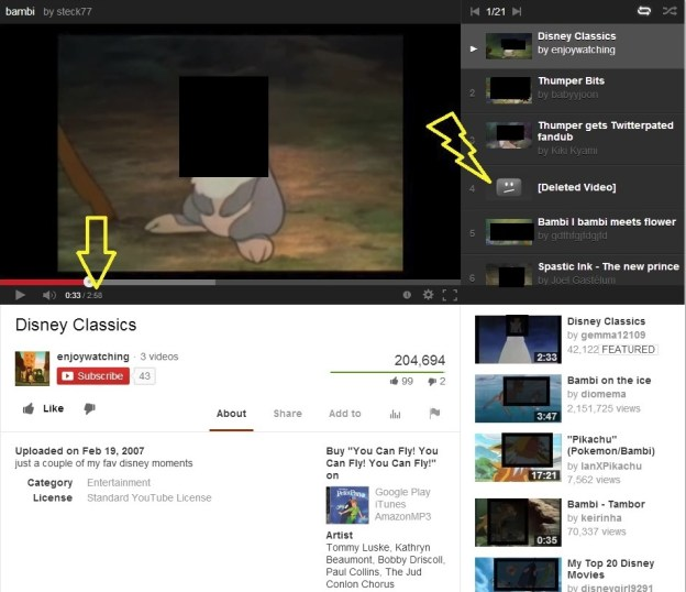 "There is some evidence of Disney videos pulled off YouTube for copyright issues. See the ""Wrath of God"" bolt of lightning?"
