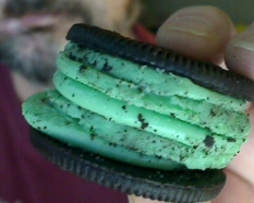 "I bought some mint Oreos today. Maybe I can quintuple-stack the mint ""stuff"" like I used to do so I could enjoy the chocolate wafer cookies left over. (The ""stuff"" is kind of gross this way. Gack!)"