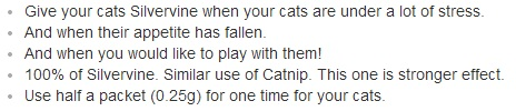 Here's what the amazon description said about this Japanese alternative to catnip.