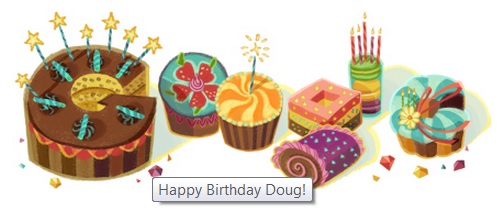 This is what confronts me all day today: Google's birthday greeting!