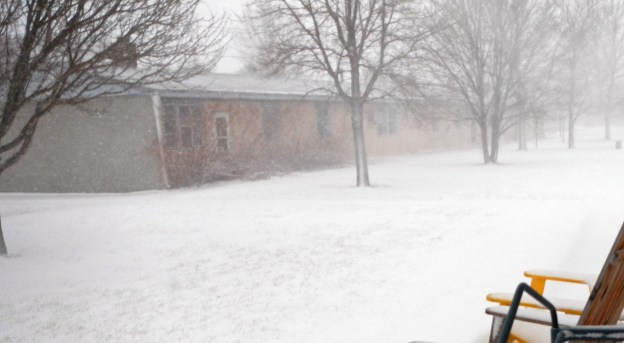It's blowing hard, but not at blizzard speeds...yet!