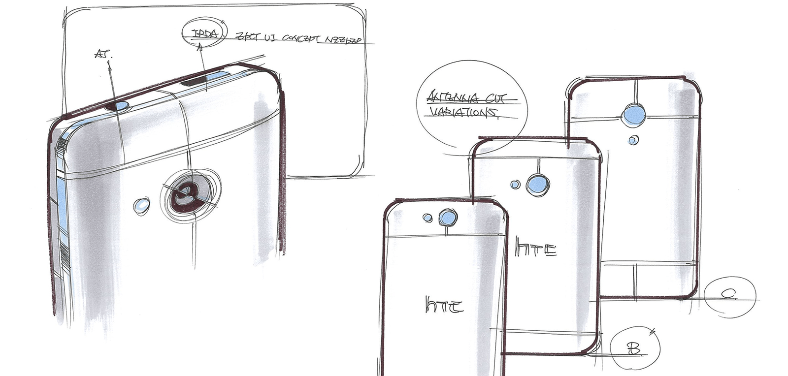 Early design sketches showcase development of the HTC One