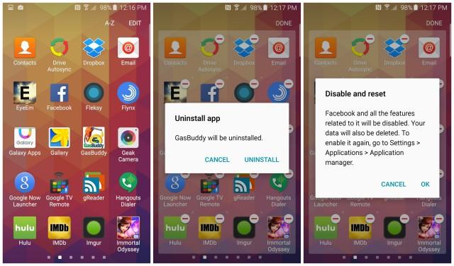 Samsung Galaxy S6 disinstallazione cancellare apps