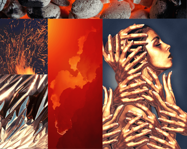 Collage mood board of red sky, bright metal, bronze woman, and lava rocks.