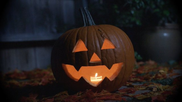 Shudder TV's original halloween jack-o-lantern, the ghoul log