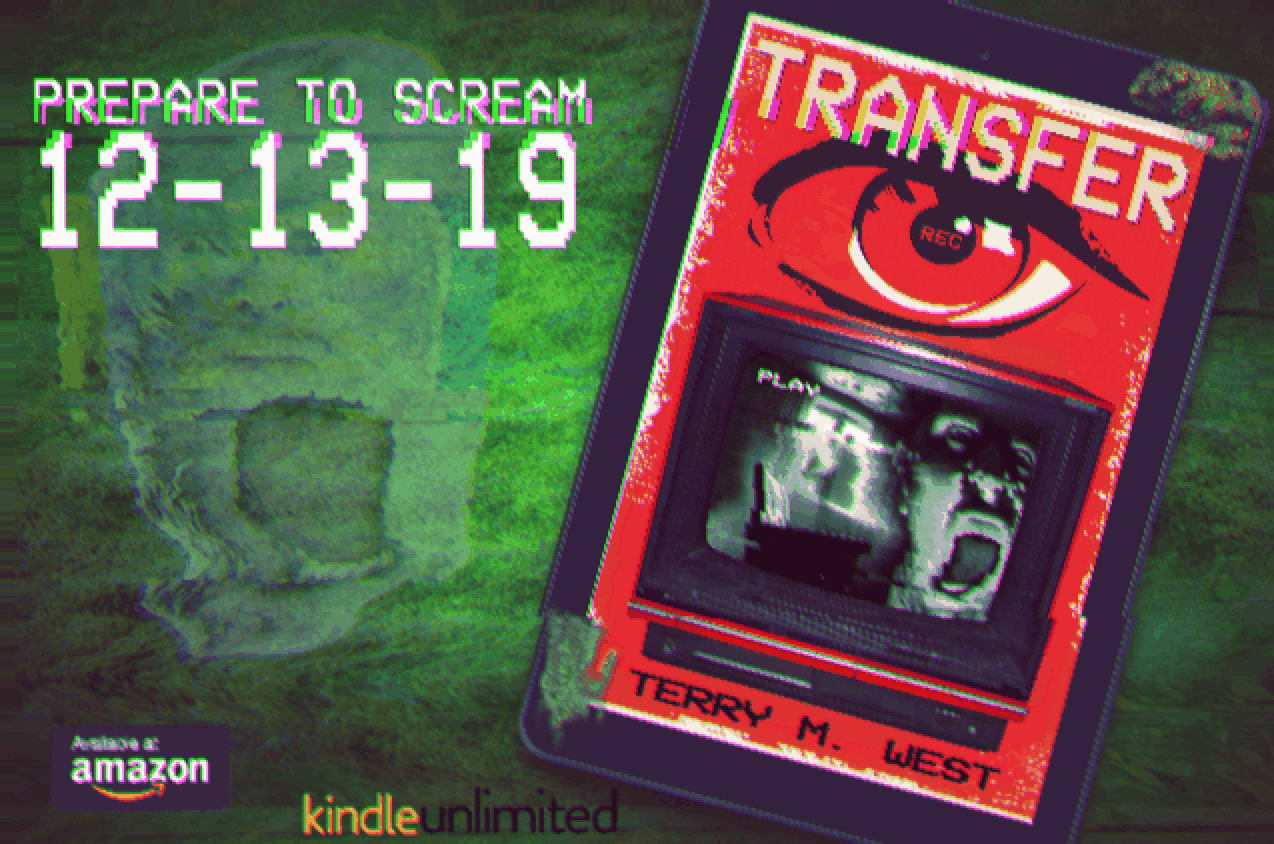 A drawing of a VHS tape promoting Terry M. West's book Transfer