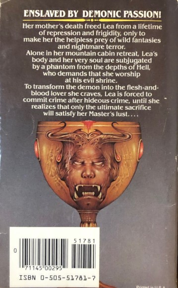 """Back cover copy for """"Worship the Night"""" with an image of the demonic golden chalice from the front cover."""