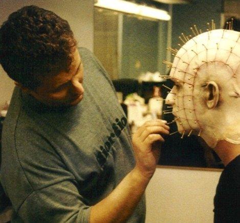 Gary J. Tunnicliffe applying prosthetics during the filming of Hellraiser: Revelations.