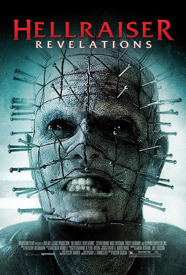 "The cover art for the horror film ""Hellraiser: Revelations,"" featuring a constipated-looking Pinhead."