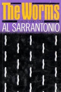 """Illustrated cover of """"The Worms,"""" with a pattern of small, white worms moving vertically up the paperback cover."""