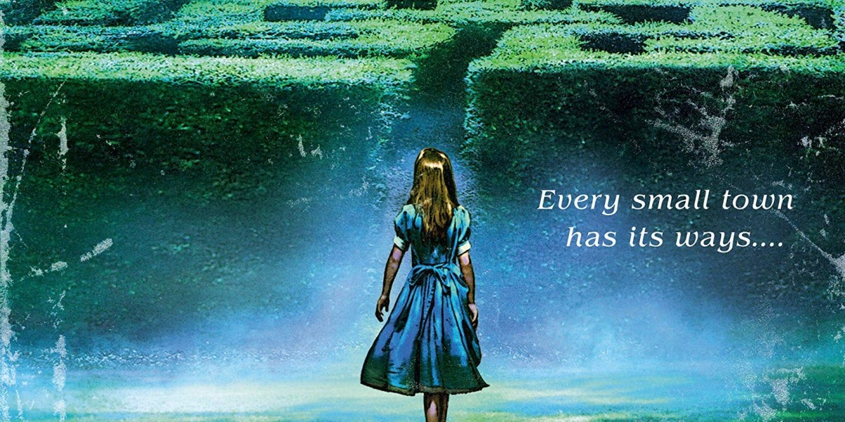 Illustration of a young woman in a blue dress standing in front of a hedge maze.