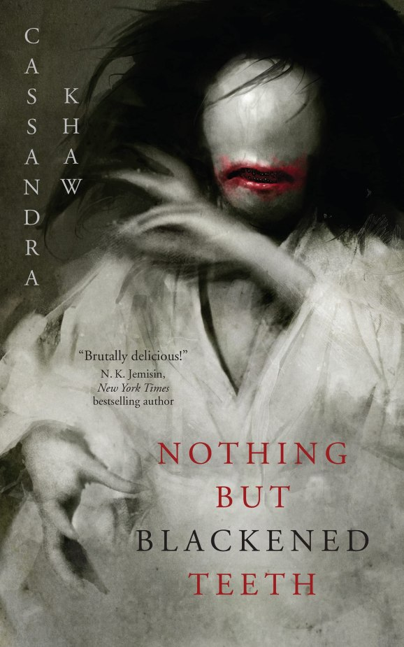 """Book cover for Cassandra Khaw's """"Nothing But Blackened Teeth"""" featuring an illustration of a ghostly woman with no facial features aside from a red mouth with black teeth."""